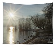Sunshine Over An Alpine Lake Tapestry