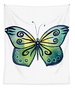 92 Teal Button Cap Butterfly Tapestry by Amy Kirkpatrick