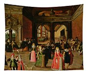 A Ball During The Reign Of Henri Iv Oil On Panel Tapestry