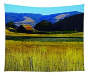 A Barn And Field In The Morning Tapestry