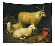 A Barn Interior With A Four-horned Ram And Four Ewes And A Goat Tapestry