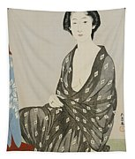 A Beauty In A Black Kimono Tapestry