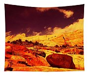 A Black Rock And Blue Sky Tapestry
