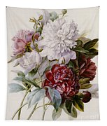 A Bouquet Of Red Pink And White Peonies Tapestry
