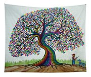 A Boy His Dog And Rainbow Tree Dreams Tapestry