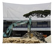 A Bulldozer Moving Dug Out Concrete And Fresh Earth Below The Concrete Tapestry