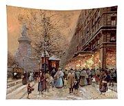 A Busy Boulevard Near The Place De La Republique Paris Tapestry