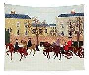 A Carriage Escorted By Police Tapestry