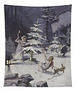 A Cherub Wields An Axe As They Chop Down A Christmas Tree Tapestry