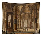 A Church Interior With Elegant People Tapestry