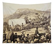 A Convoy Of Wagons Tapestry