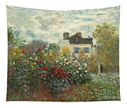 A Corner Of The Garden With Dahlias Tapestry