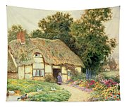 A Cottage By A Duck Pond Tapestry