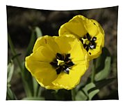 A Couple Of Bright Yellow Tulip Flowers Tapestry