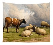 A Cow And Five Sheep Tapestry