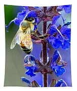 A European Honey Bee And It's Flowers Tapestry