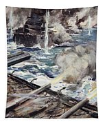 A Fleet Of Battleships Firing Tapestry