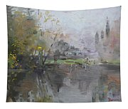 A Foggy Fall Day By The Pond  Tapestry