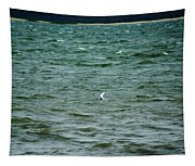 A Forster Tern Fighting The Winds Out At Sea Tapestry