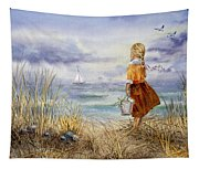 A Girl And The Ocean Tapestry