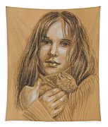 A Girl With The Pet Tapestry