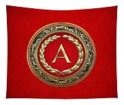 A - Gold Vintage Monogram On Red Leather Tapestry