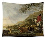 A Hilly Landscape With Figures Tapestry