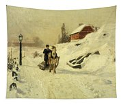 A Horse Drawn Sleigh In A Winter Landscape Tapestry