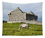 A Horse Grazing In A Field Tapestry