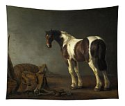A Horse With A Saddle Beside It Tapestry