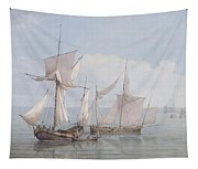 A Hoy And A Lugger With Other Shipping On A Calm Sea  Tapestry