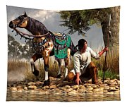 A Hunter And His Horse Tapestry