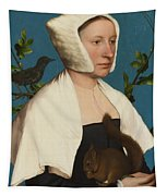 A Lady With A Squirrel And A Starling Tapestry