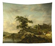 A Landscape With A Farm On The Bank Of A River Tapestry