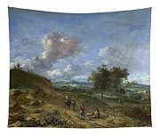 A Landscape With A High Dune And Peasants On A Road Tapestry