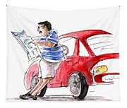 A Man And His Car And His Newspaper Tapestry