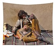 A Man And His Monkey - Varanasi India Tapestry