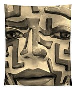 A Maze Ing Face 1 Sepia Tapestry