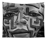 A Maze Ing Face Black And White Tapestry