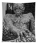 A Maze Ing Man 1 Black And White Tapestry