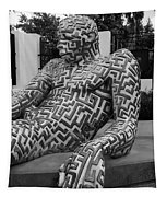 A Maze Ing Man 5 Black And White Tapestry