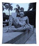 A Maze Ing Man Cyan Tapestry