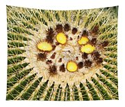 A Mexican Golden Barrel Cactus With Blossoms Tapestry