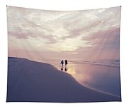 A Morning Walk On The Beach Tapestry