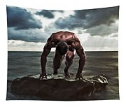 A Muscular Man In The Starting Position Tapestry