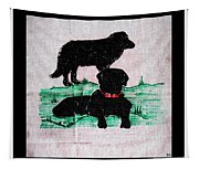 A Newfoundland Dog And A Labrador Retriever Tapestry