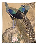 A Pair Of Peacocks In Spring Tapestry