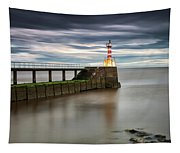 A Red And White Striped Lighthouse Tapestry