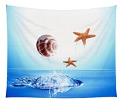 A Shell And Two Starfish Floating Tapestry