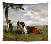 A Shepherdess With A Goat And Two Cows In A Meadow Tapestry